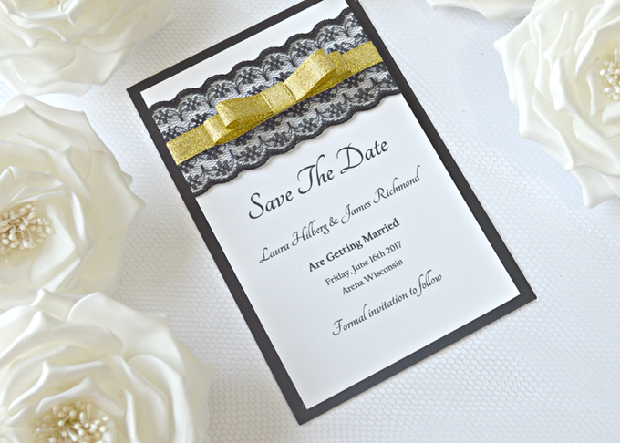 Black & Gold save the date cards by Jasmine wedding prints - 003