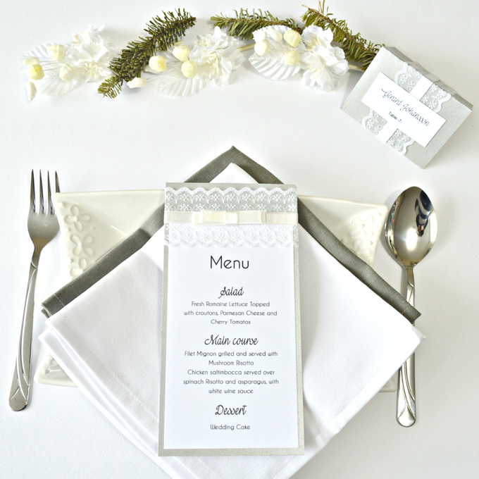 Lace wedding menu by Jasmine wedding prints - 003