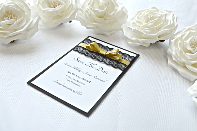 Black & Gold save the date cards by Jasmine wedding prints - 002