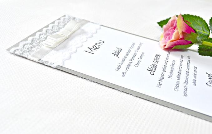 Lace wedding menu by Jasmine wedding prints - 001