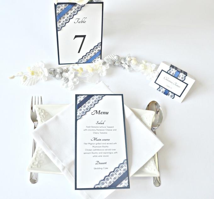 Navy Blue Lace wedding stationery set by Jasmine wedding prints - 001