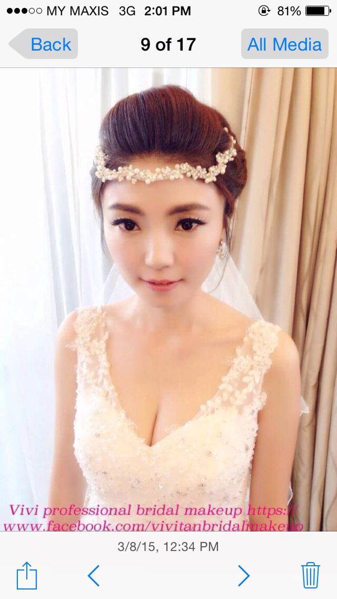 Bridal makeup and hairstyling  Actual day  by VIVI PROFESSIONAL BRIDAL MAKEUP - 003