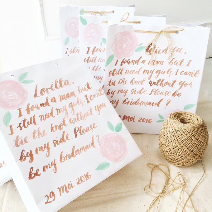 Bridemaid paper bags by Meilifluous Calligraphy & Design - 002