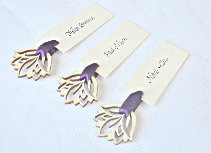 Purple place cards and table numbers by Jasmine wedding prints - 001