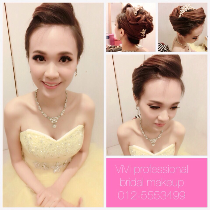 Bridal makeup and hairstyling  Actual day  by VIVI PROFESSIONAL BRIDAL MAKEUP - 001