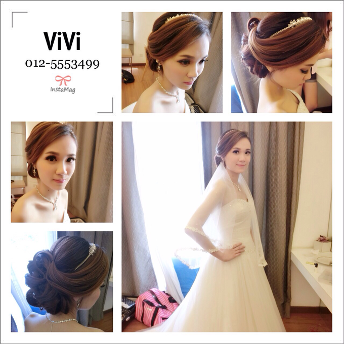 Bridal makeup and hairstyling  Actual day  by VIVI PROFESSIONAL BRIDAL MAKEUP - 002