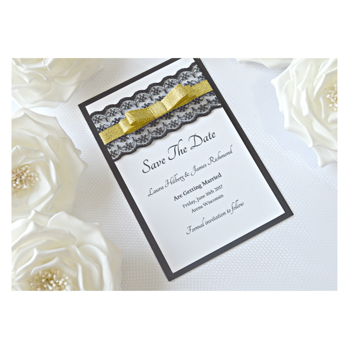 Black & Gold save the date cards by Jasmine wedding prints - 005