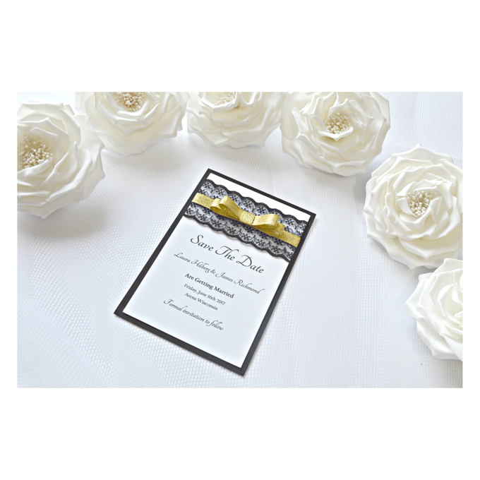 Black & Gold save the date cards by Jasmine wedding prints - 004
