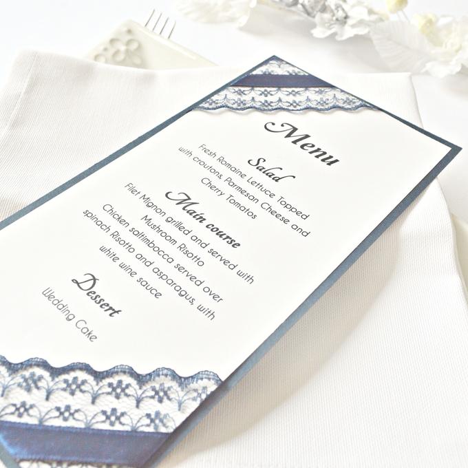 Navy Blue Lace wedding stationery set by Jasmine wedding prints - 003