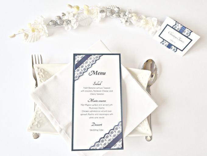 Navy Blue Lace wedding stationery set by Jasmine wedding prints - 004