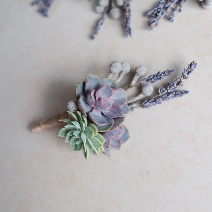 Rustic Succulent Boutonniere by Floral Theory - 002
