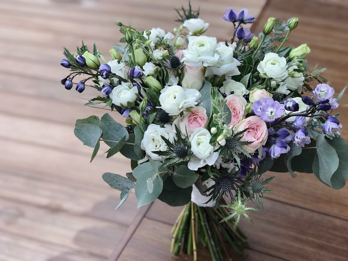 White And Navy Bridal Bouquet For M By Florals Actually Bridestory
