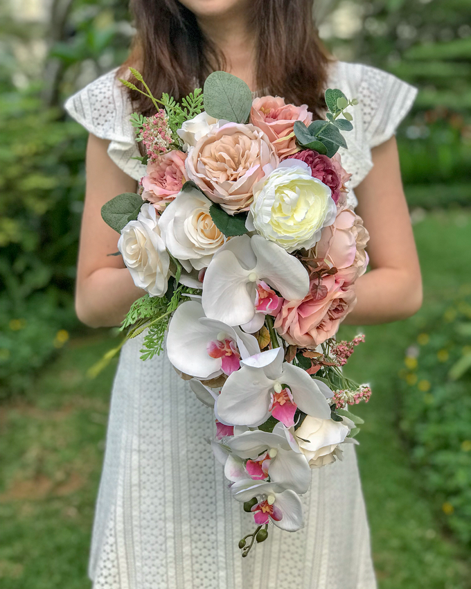 Cascading faux bouquet by Florals Actually - 001