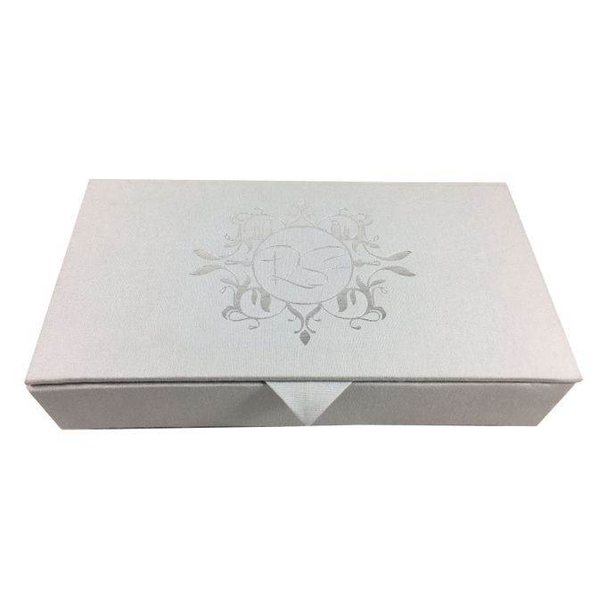 Silver Foil Stamped Linen Wedding Invitation Box By Prestige