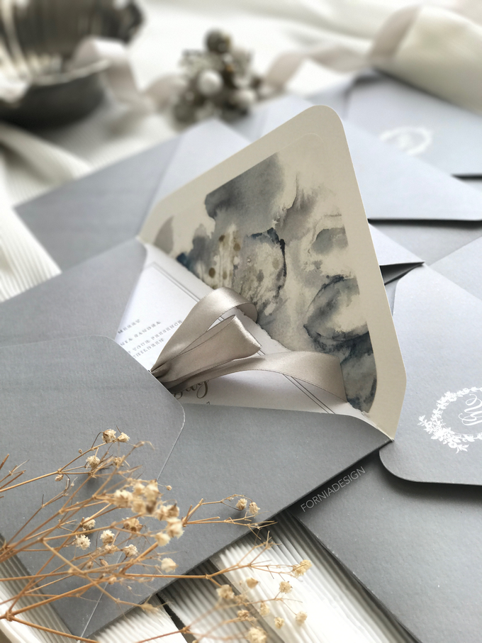 William & Meriani's letterpress wedding invitation  by Fornia Design Invitation - 001