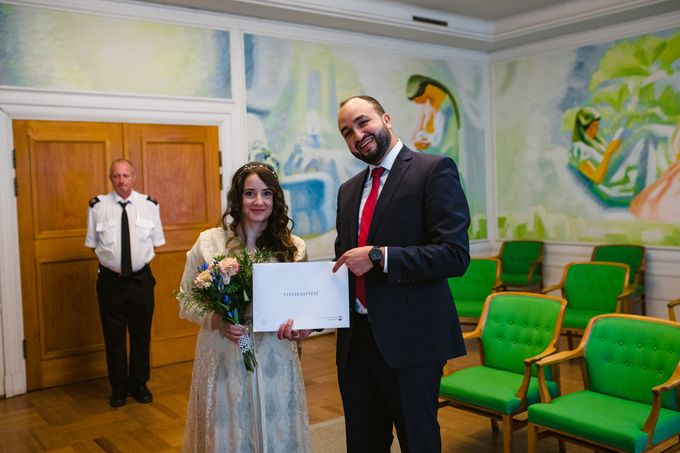 Frederiksberg Town Hall Wedding / Elopement by Ieva Vi Photo by Ieva Vi Photography - 005