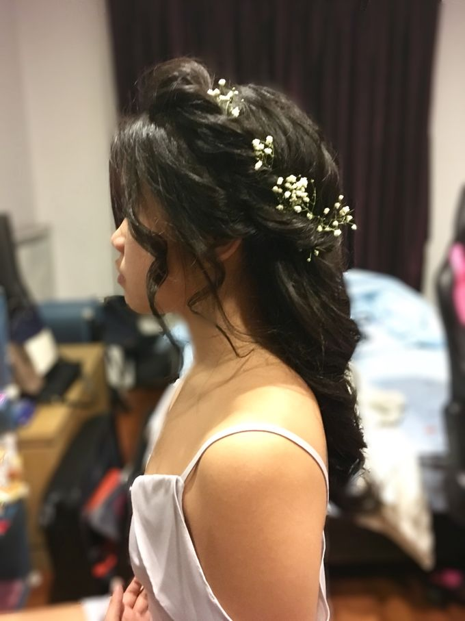 Romantic Floral Rustic Half up Half Down Hairstyles by Sylvia Koh Makeup and Hairstyling - 009