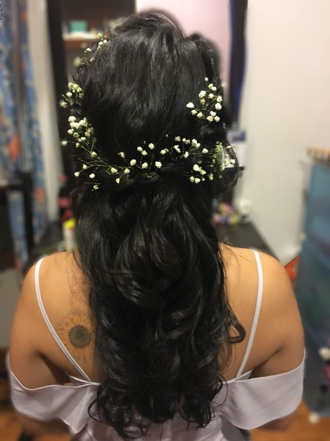 Romantic Floral Rustic Half up Half Down Hairstyles by Sylvia Koh Makeup and Hairstyling - 010