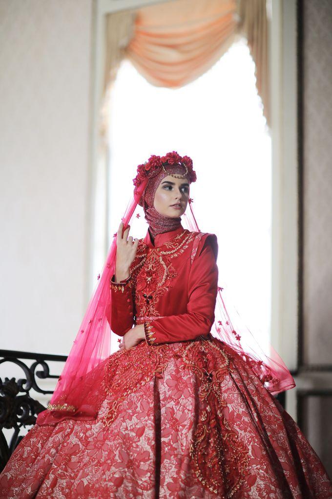 Bridal Gown Detail - Deep Heart Red Ballgown by Laksmi Islamic ...