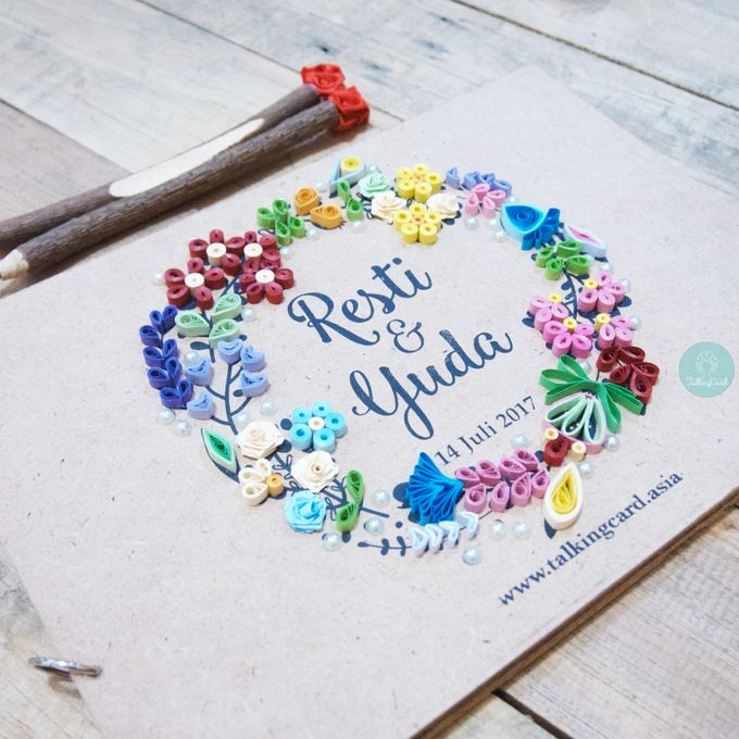 Quilling Wooden Guestbook by TalkingCard - 002
