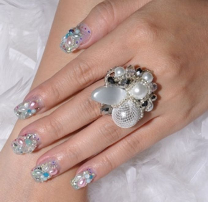 Add To Board 3D Nail Art For Wedding Day By Luz Bello Extension