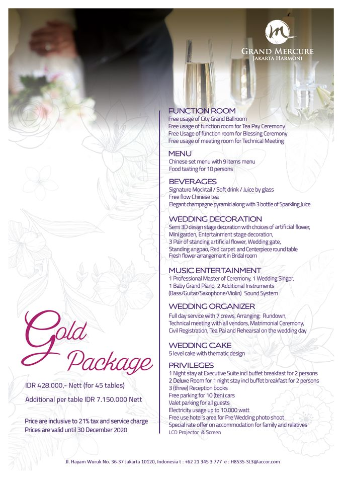 Wedding Package 2019 by GRAND MERCURE Jakarta Harmoni - 005