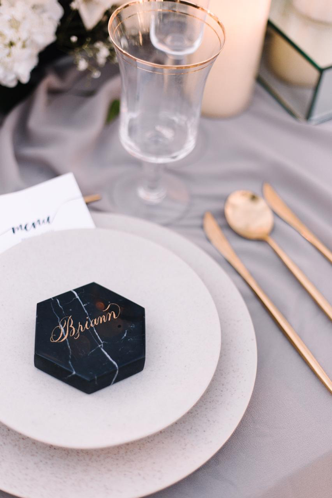 Lettering on marble coaster by Grace and Truly Calligraphy - 001