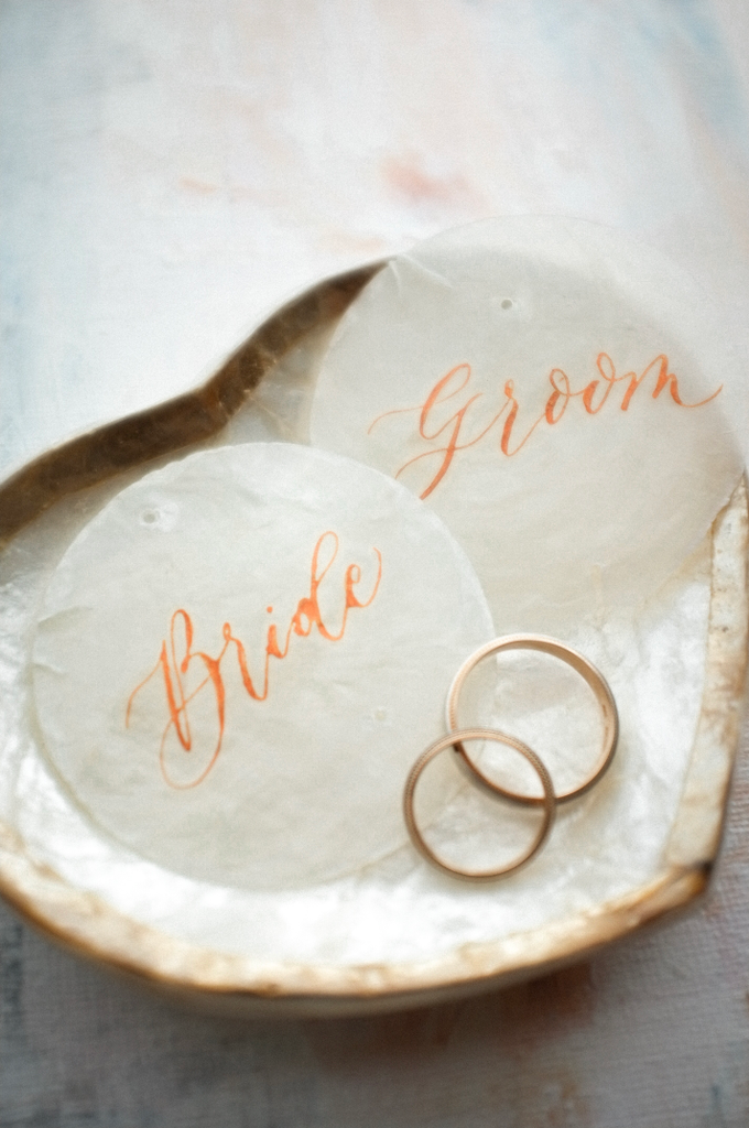Bride and Groom on Capiz Shell by Grace and Truly Calligraphy - 001