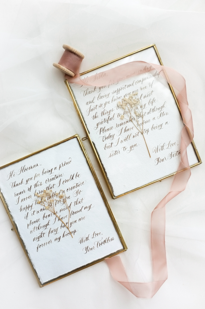 Custom bridesmaid message in brass frame by Grace and Truly Calligraphy - 001