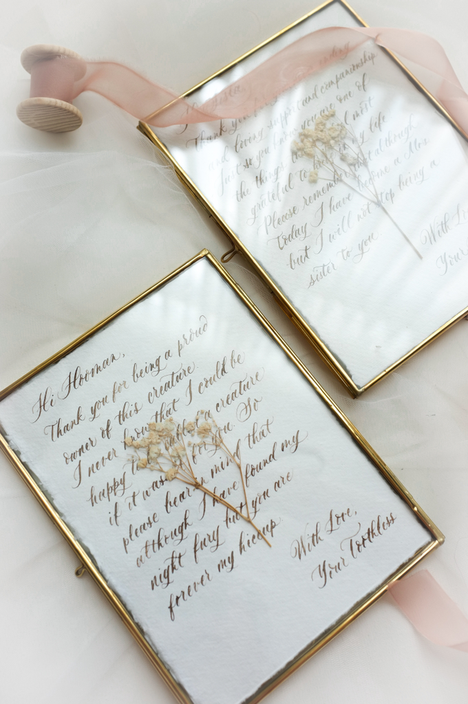 Custom bridesmaid message in brass frame by Grace and Truly Calligraphy - 004
