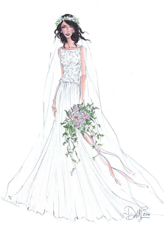 Custom frontals bridal illustration by Illustrative Moments - 004