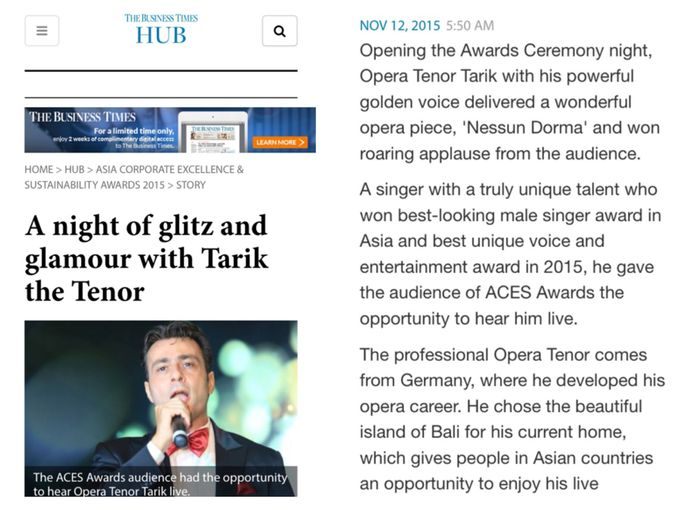 On Business Times Magazine Singapor by Tarik The Tenor ( The Luxury Entertainment ) - 001