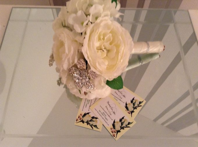 Silk flower bouquet with pearls and brooche by Floralbliss.id - 001