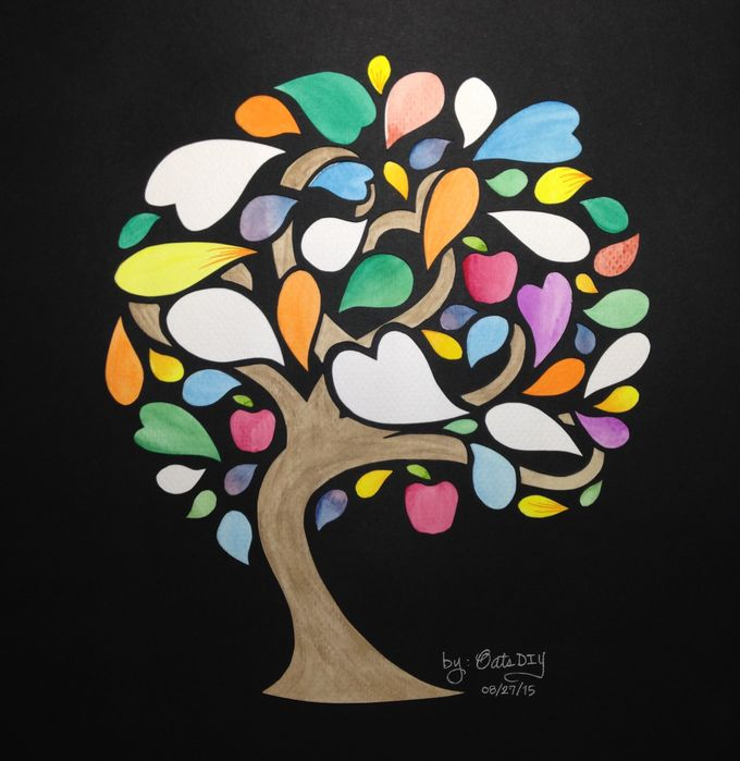 Watercolored Papercut Tree by Oats DIY - 005