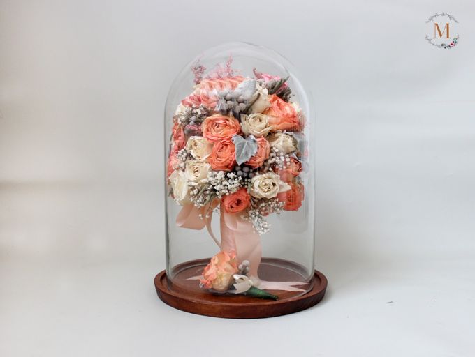Glass Dome Dried Flower by Magnolia Dried Flower - 005
