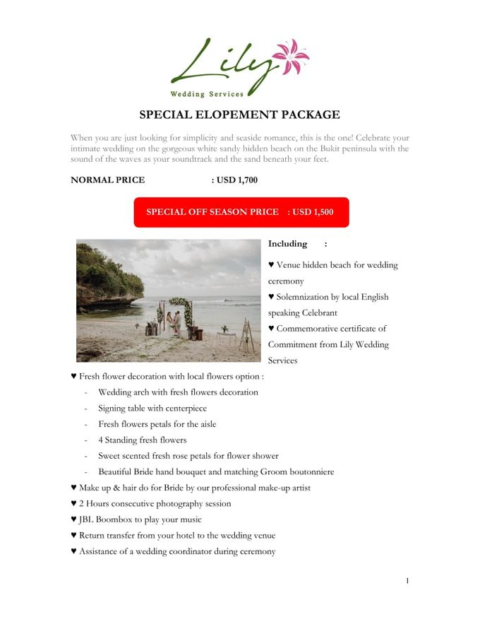 Our Wedding Packages by Lily Wedding Services - 002