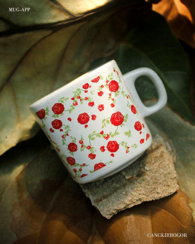 Mug Kotak Full Flowers by Mug-App Wedding Souvenir - 003