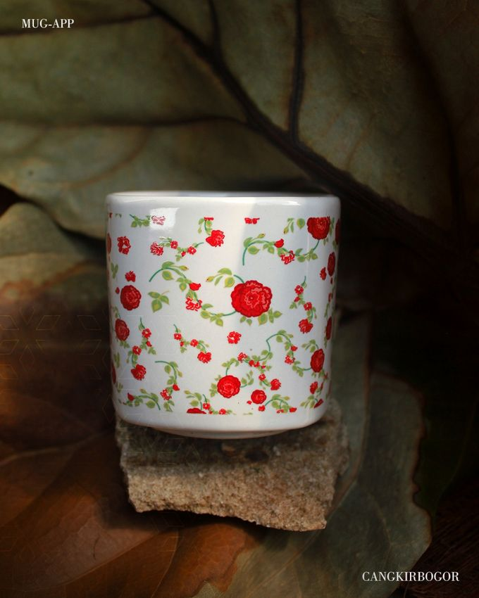 Mug Kotak Full Flowers by Mug-App Wedding Souvenir - 002