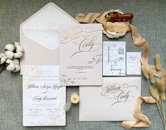 Blush Calligraphy by Trouvaille Invitation - 001