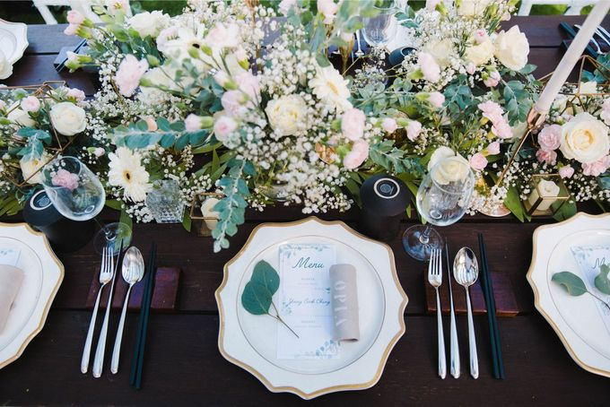 Alfresco greenery dinner reception at Opia Bali by Silverdust Decoration - 020