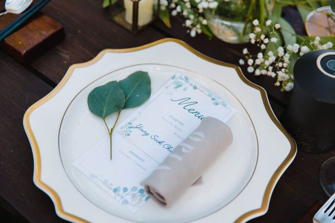 Alfresco greenery dinner reception at Opia Bali by Silverdust Decoration - 021