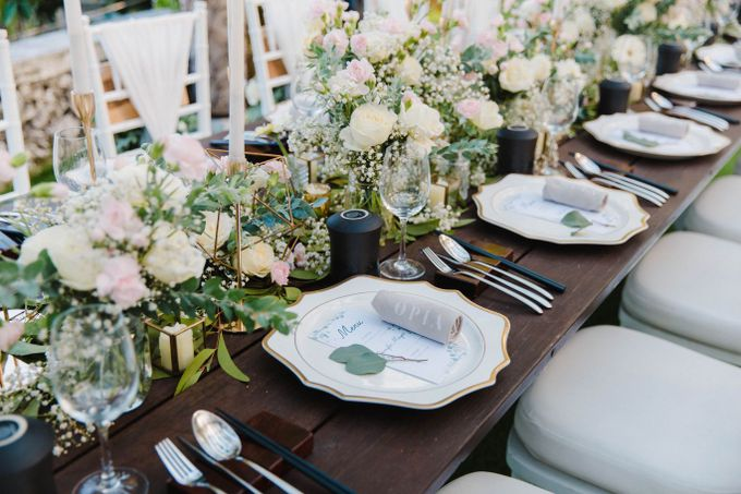 Alfresco greenery dinner reception at Opia Bali by Silverdust Decoration - 024