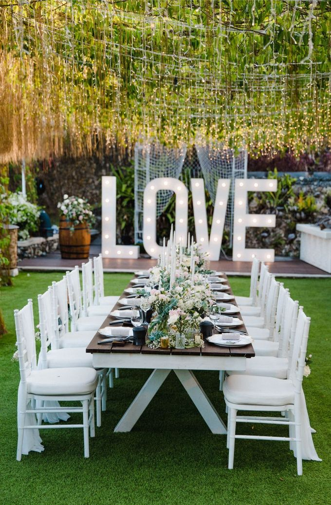 Alfresco greenery dinner reception at Opia Bali by Silverdust Decoration - 025