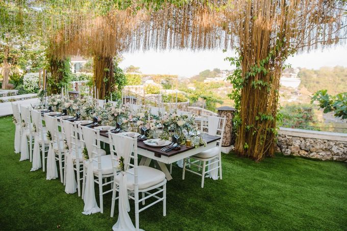 Alfresco greenery dinner reception at Opia Bali by Silverdust Decoration - 026