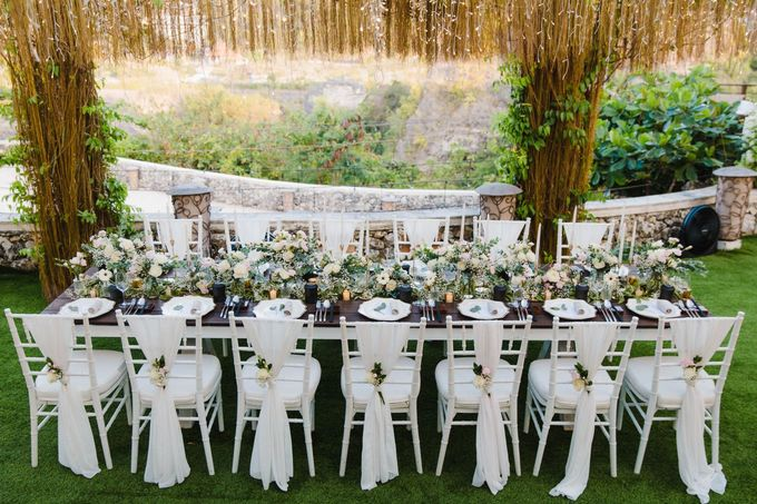 Alfresco greenery dinner reception at Opia Bali by Silverdust Decoration - 028