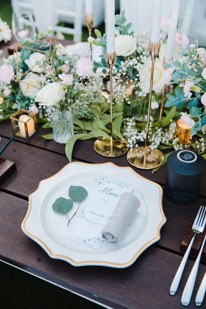 Alfresco greenery dinner reception at Opia Bali by Silverdust Decoration - 002