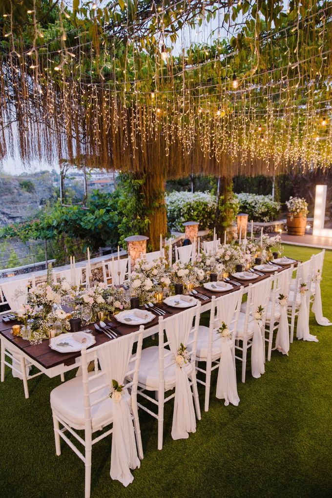 Alfresco greenery dinner reception at Opia Bali by Silverdust Decoration - 005