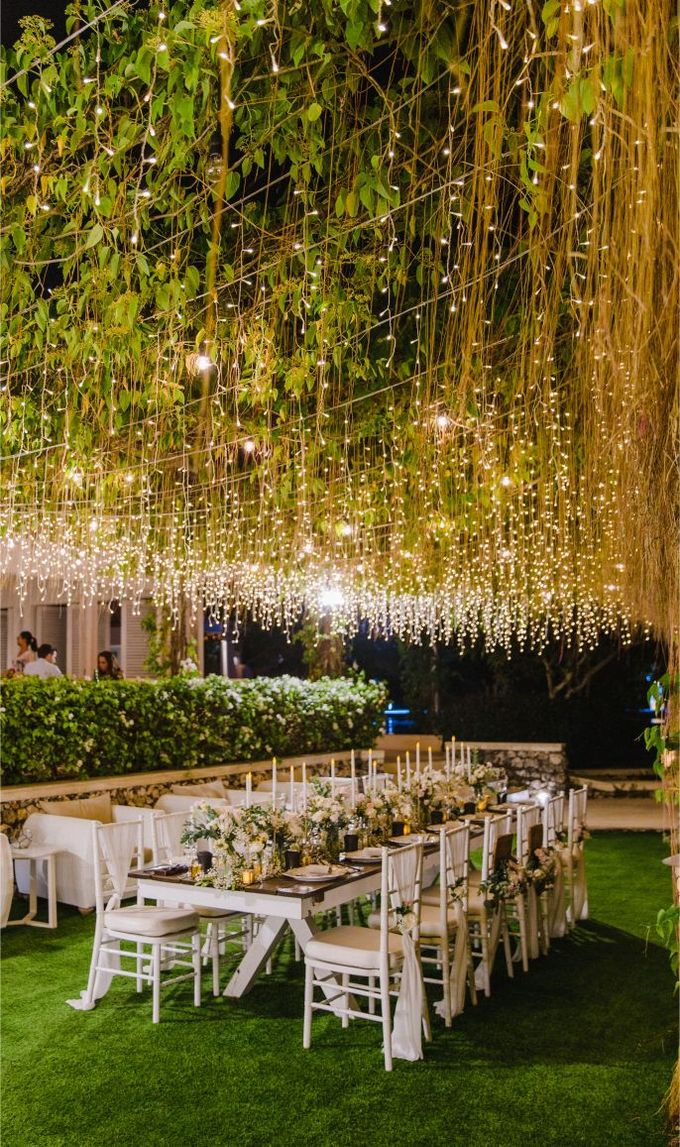 Alfresco greenery dinner reception at Opia Bali by Silverdust Decoration - 013