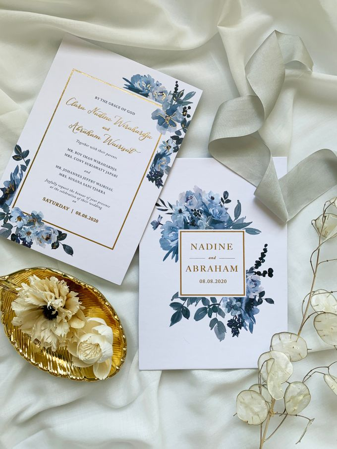 Sky Blue Flowers by Trouvaille Invitation - 003