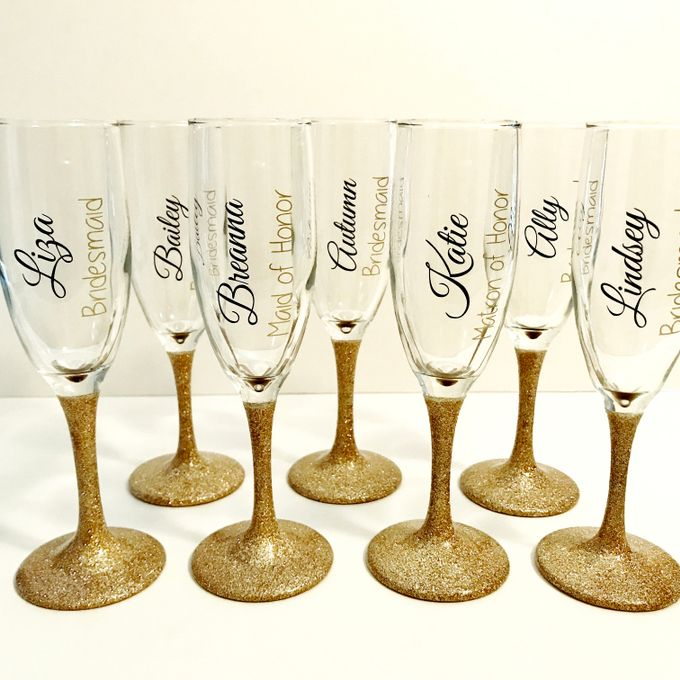 Custom Bridal Party Champagne Flutes by Lola Designs USA - 002